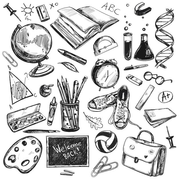 Esboço doodles volta para o fundo da escola Vetor grátis