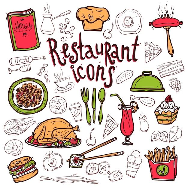 Esboço dos símbolos do doodle dos ícones do restaurante Vetor grátis