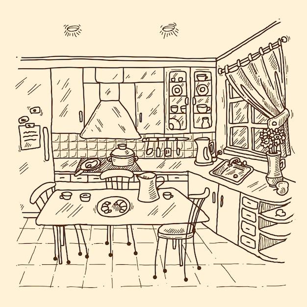 Esboço interior da cozinha Vetor Premium