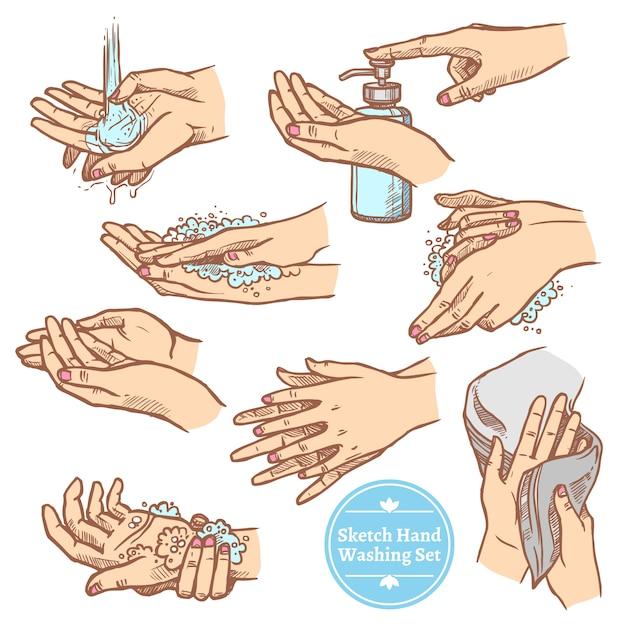 Esboço mãos lavando o conjunto de higiene Vetor grátis