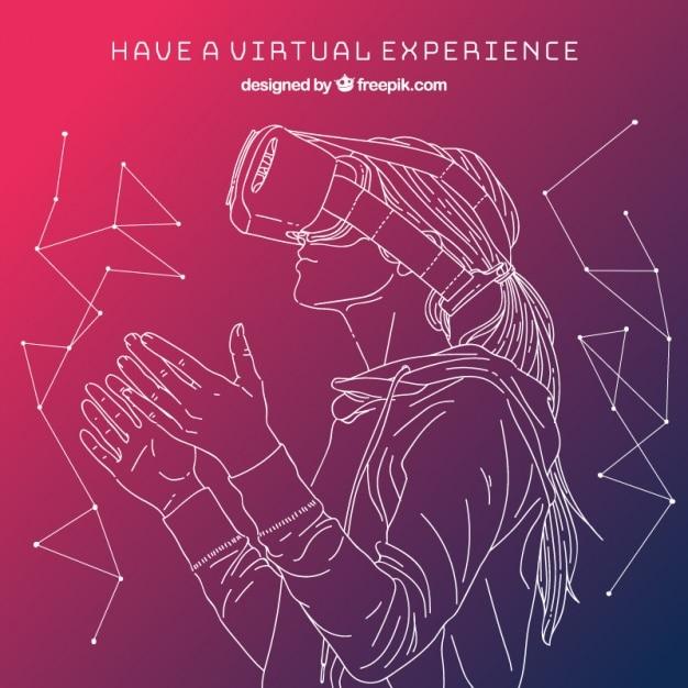 Esboço menina no fundo de realidade virtual Vetor grátis