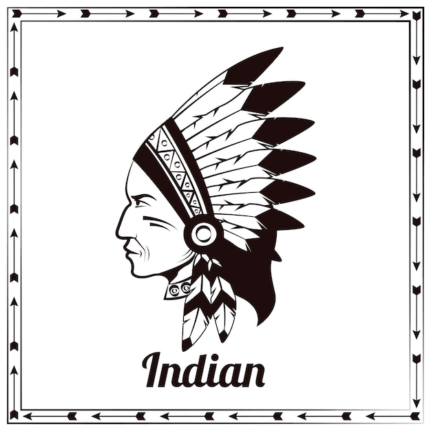 Esboço preto do chefe índio americano Vetor grátis