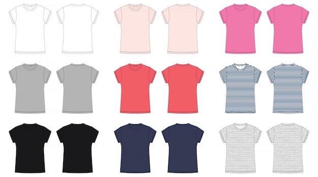 Esboço técnico de camiseta de mulher. Vetor Premium