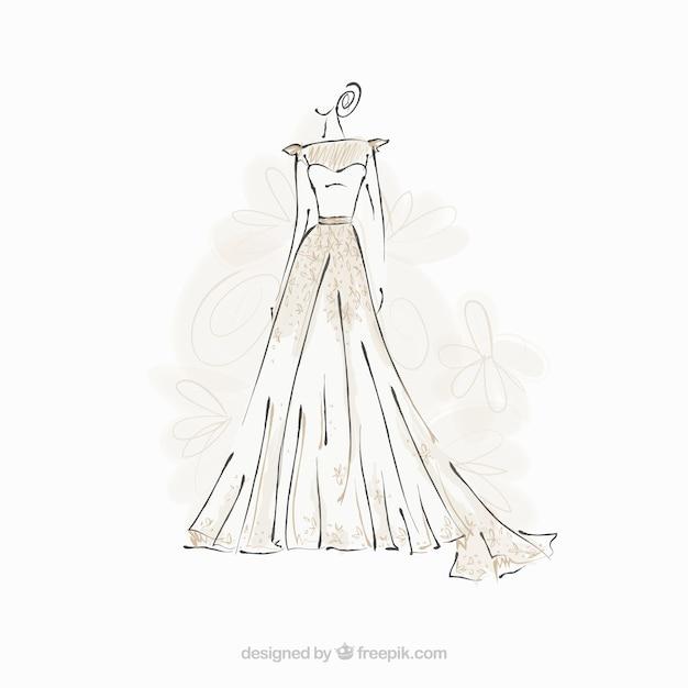 Esboço vestido de noiva Vetor grátis