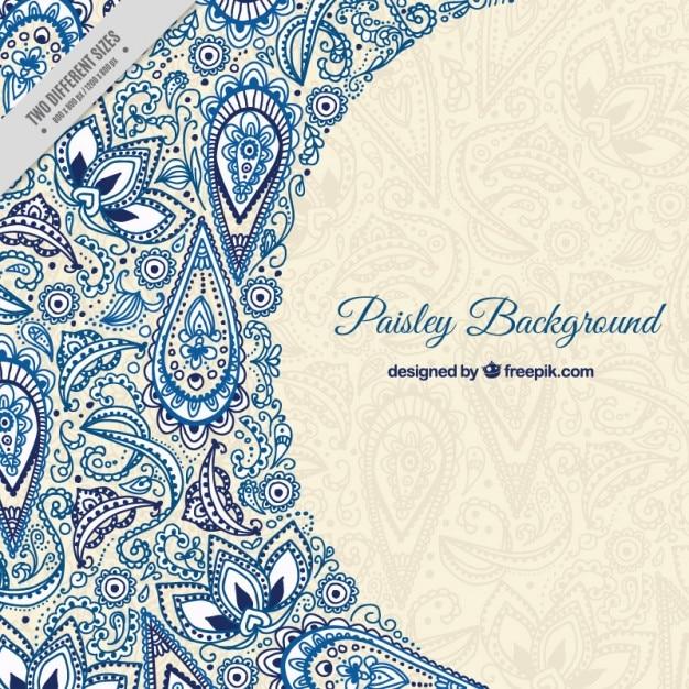 Esboços azuis do fundo floral paisley Vetor grátis