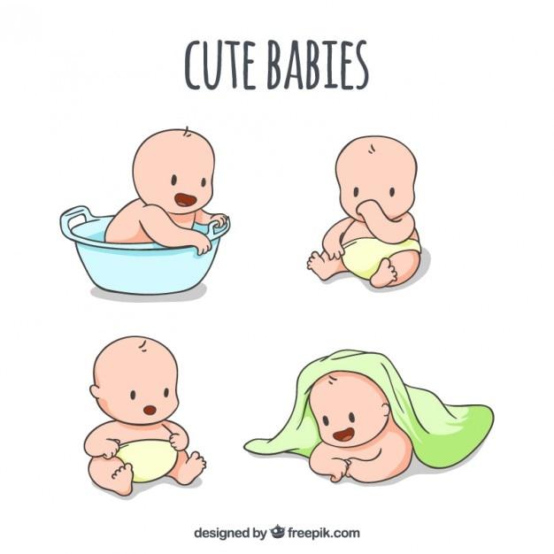 Esboços de bebês bonitos em diferentes poses Vetor grátis
