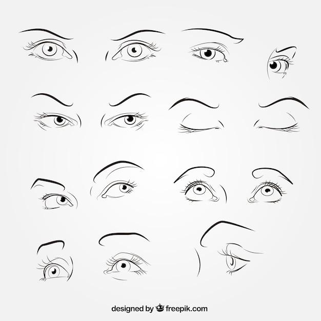 Esboços de coleta de olhares Vetor grátis