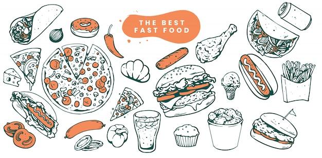 Esboços de ilustração de fast-food Vetor Premium