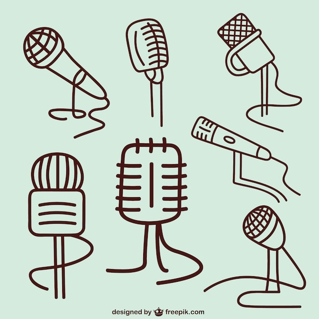 Esboços de microfone Vetor grátis