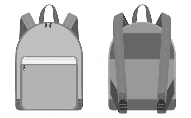 Esboços de mochila vector ilustração plana Vetor Premium