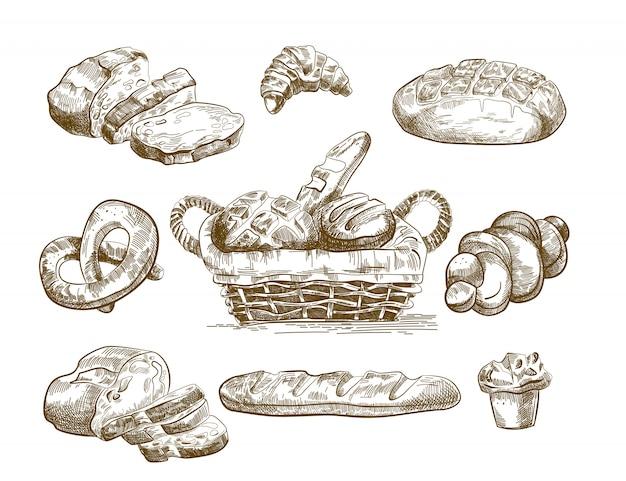 Esboços de produtos cozidos conjunto mão desenhada Vetor grátis