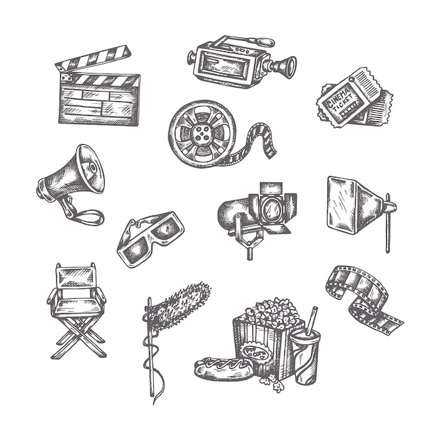 Esboços de vetor de cinema Vetor Premium