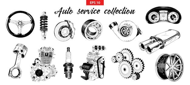 Esboços desenhados à mão de elementos de serviço de carro auto Vetor Premium