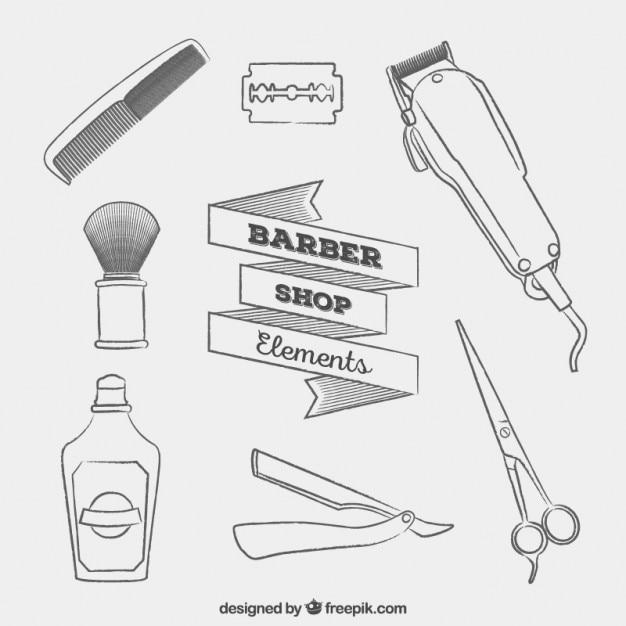Esboços elementos barbearia Vetor grátis