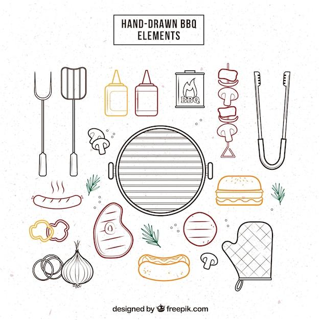 Esboços elementos churrasco embalar Vetor grátis
