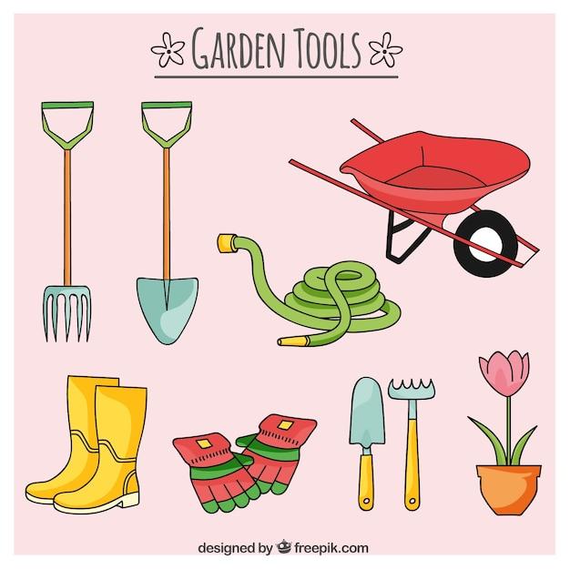 Esboços ferramentas e mangueiras de jardim Vetor grátis