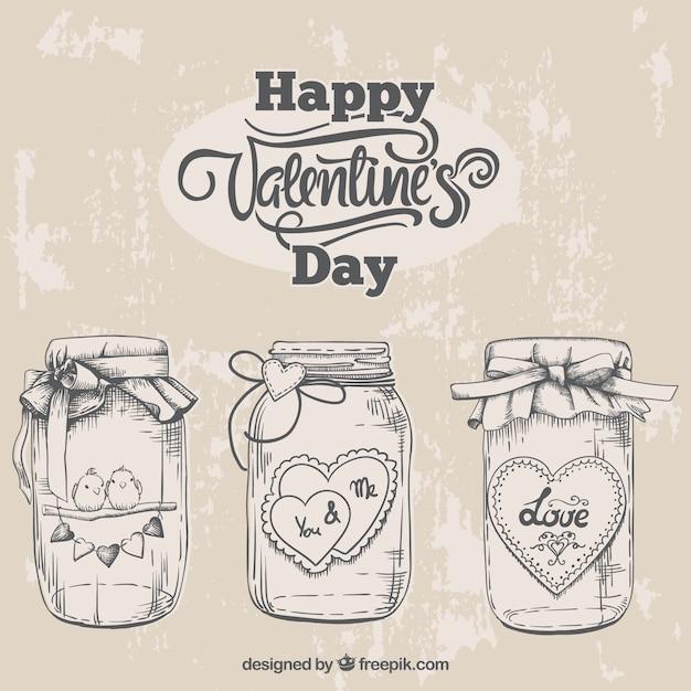 Esboços frascos valentine Vetor grátis
