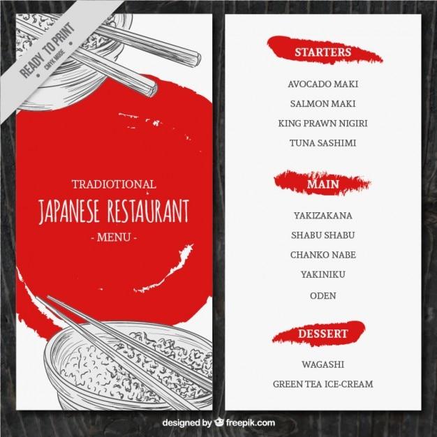 Esboços modelo de menu comida japonesa Vetor grátis