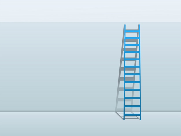 Escada azul, inclinando-se contra o fundo da parede Vetor Premium