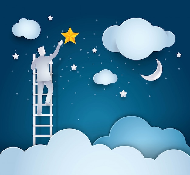 Escada de escalada de empresário para alcançar a estrela no céu Vetor Premium