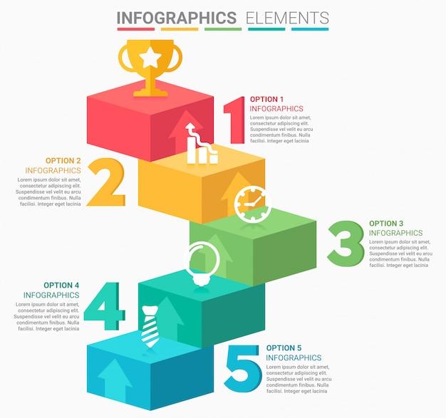 Escada de negócios infográfico com cinco etapas Vetor Premium