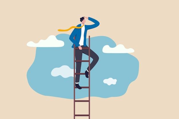 Escada de sucesso, visão para liderar negócios para atingir objetivo ou oportunidade no conceito de carreira, líder de empresário inteligente e confiante subir para alcançar o topo da escada no céu e olhar para o futuro. Vetor Premium