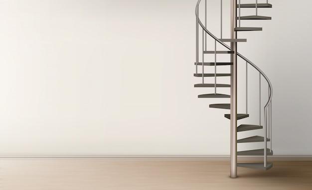 Escada em espiral em design de interiores para casa vazia Vetor grátis