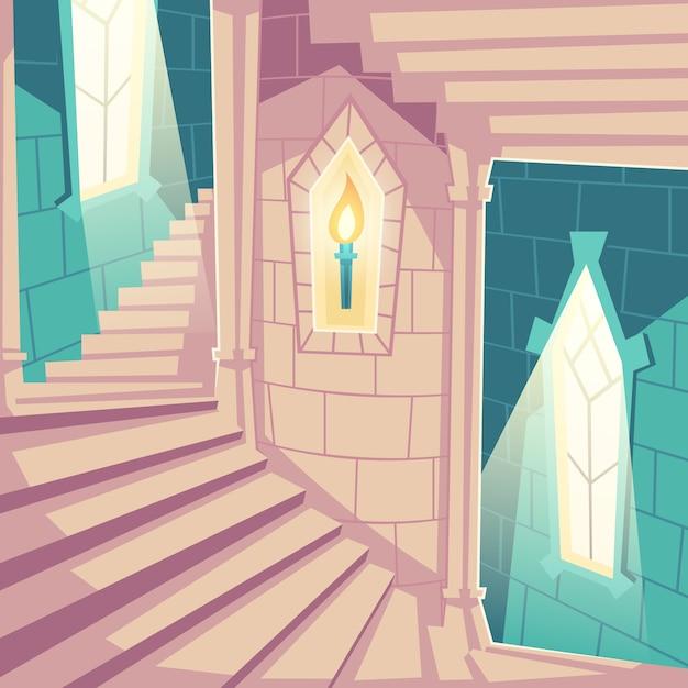 Escada em espiral nas escadas para cima do castelo no palácio Vetor grátis