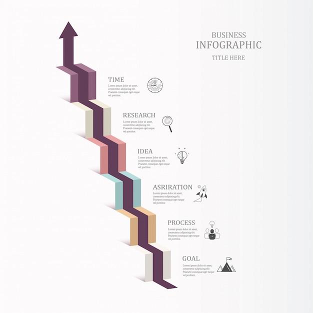 Escada infographic seis etapas e ícones para o conceito do negócio. Vetor Premium