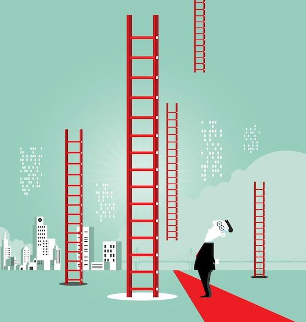 Escada para o sucesso - conceito de negócio Vetor Premium