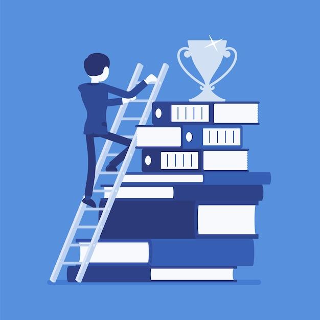 Escada para o sucesso em design plano Vetor Premium