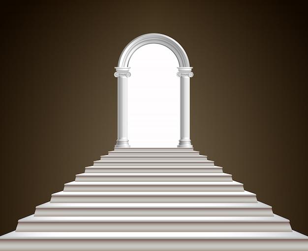 Escadaria e arco Vetor Premium