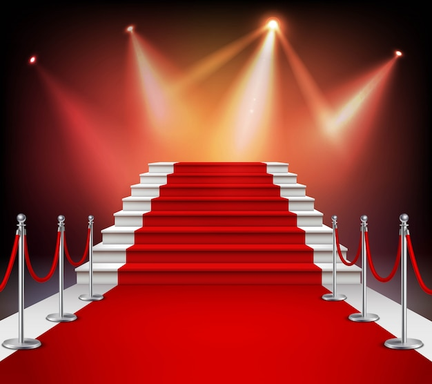 Escadas brancas cobertas com tapete vermelho e iluminado por holofotes ilustração realista vector Vetor grátis