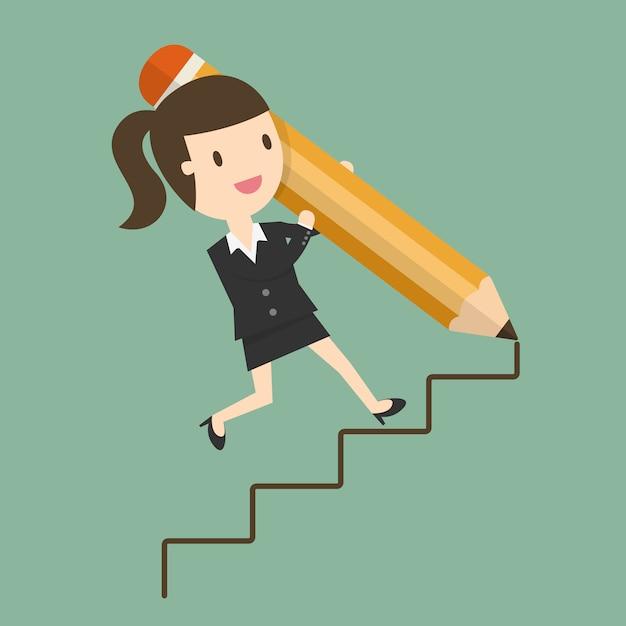 Escadas de desenho da mulher de negócios Vetor grátis