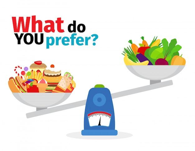Escalas com alimentos gordurosos e alimentos saudáveis Vetor Premium