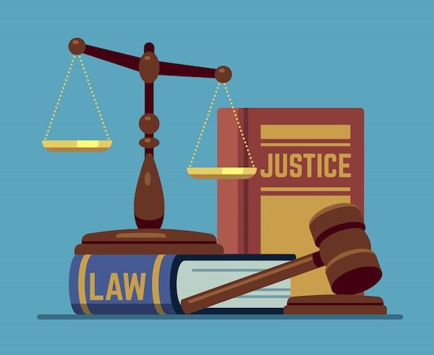 Escalas de justiça e juiz de madeira martelo. martelo de madeira com livros de código de lei. conceito de vetor de autoridade legal e legislação Vetor Premium