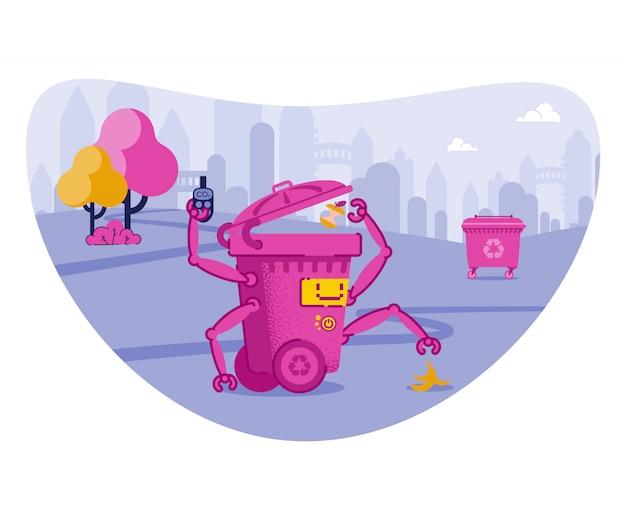 Escaninho robótico jogando lixo com as mãos automáticas. Vetor Premium