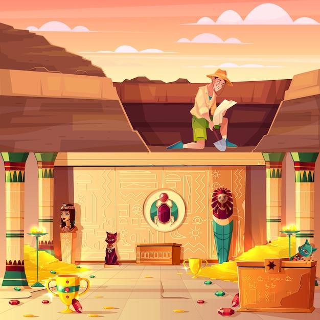 Escavações de arqueologia, caça ao tesouro conceito de vetor de desenhos animados com arqueólogo ou piloto de túmulo assistindo no mapa, cavando o solo no deserto com pá, egito faraó tesouraria subterrânea ilustração Vetor grátis