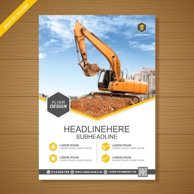 Escavadeira ou dozer cobrir modelo de design de folheto a4 Vetor Premium