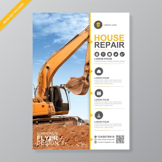 Escavadeira ou dozer modelo de design de folheto Vetor Premium