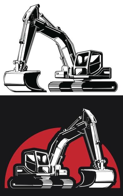 Escavadeira silhouette retroescavadeira escavadeira para construção Vetor Premium