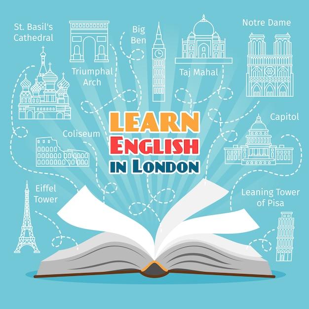 Escola de línguas no exterior Vetor Premium