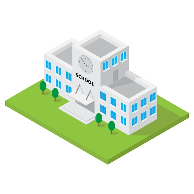 Escola edifício isométrico vetor para elemento de mapa 3d Vetor Premium