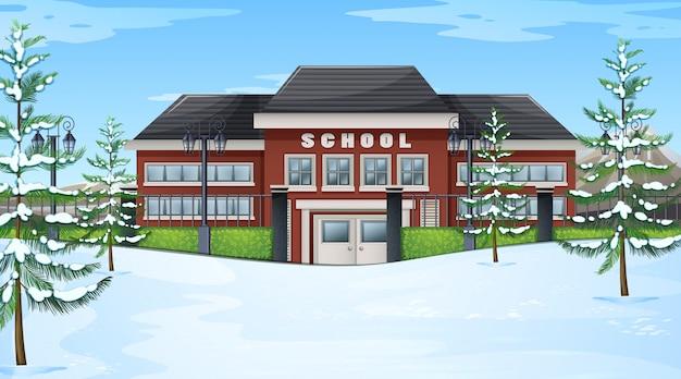 Escola, em, inverno, cena Vetor grátis