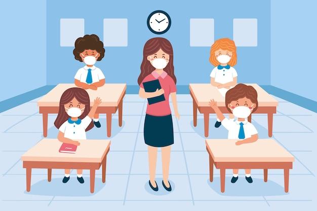 Escola em novo normal Vetor grátis