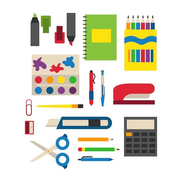 Escola fornece ilustração vetorial. Vetor Premium