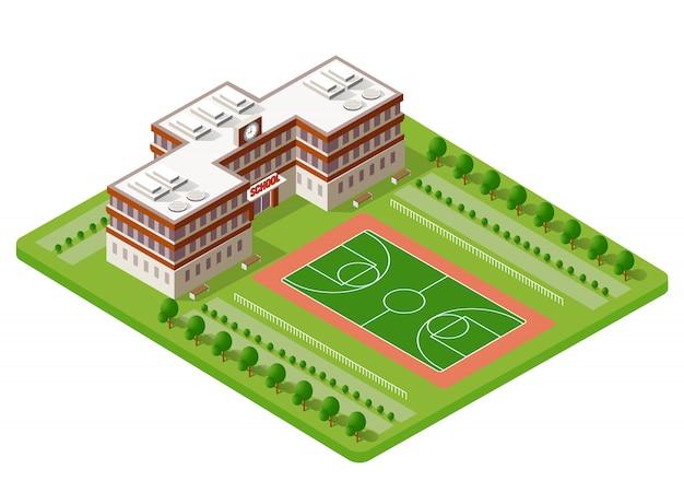 Escola isométrica edifício estudo educação Vetor Premium
