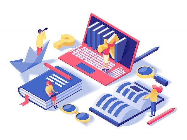 Escola on-line, aulas isométricas Vetor Premium