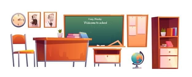 Escola sala de aula móveis conjunto de desenhos animados, lousa Vetor grátis