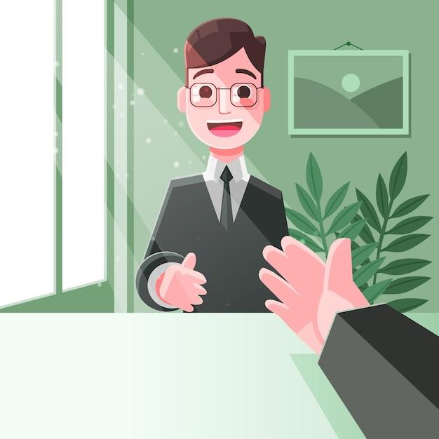 Escolha feliz empregado do conceito de trabalhador Vetor grátis